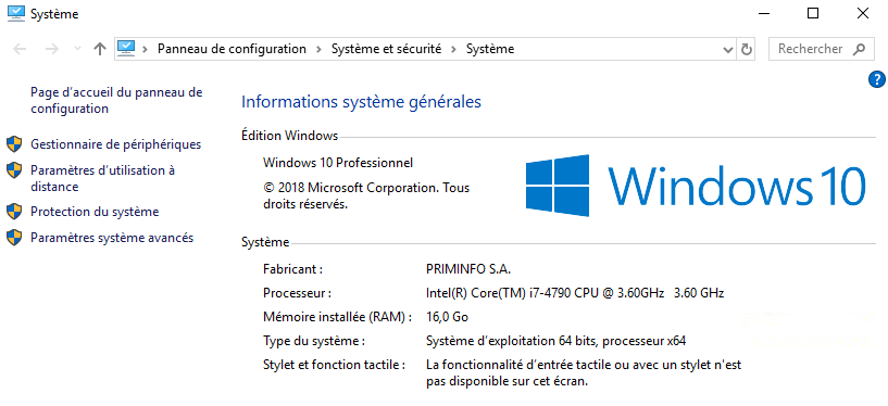 Version de Windows