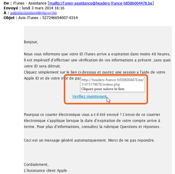 Phishing exemple