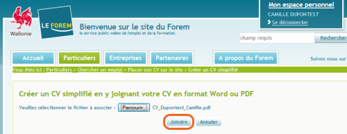 Joindre le CV