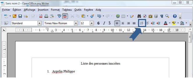 Cr er des listes pmtic - Comment numeroter des pages sur open office ...